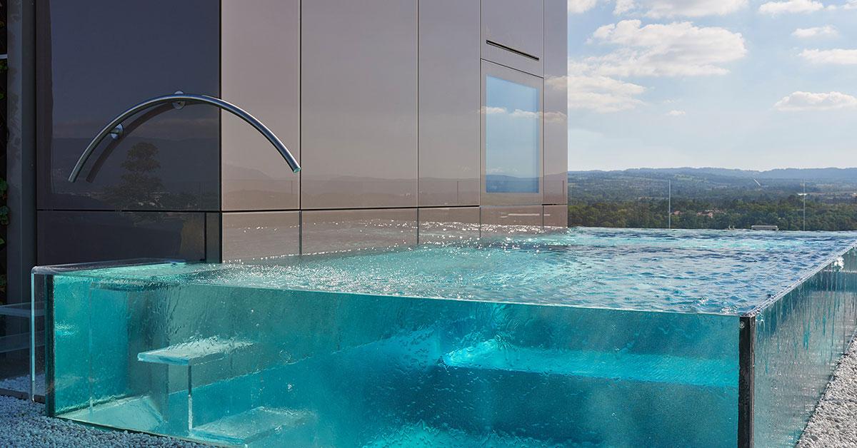 piscine inox verre