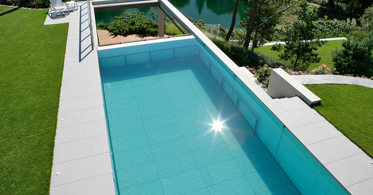 piscine carrelage fond mobile