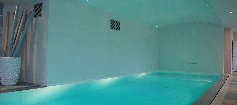piscine miroir avec cascade
