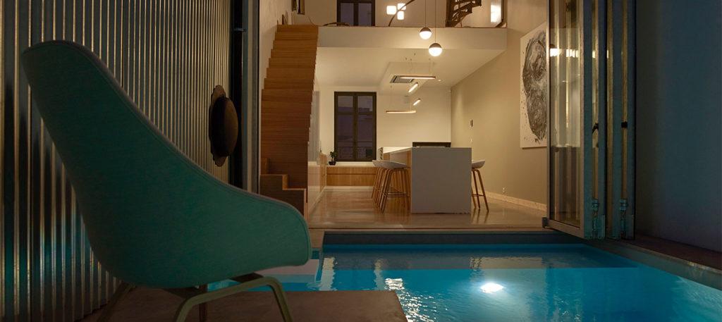 piscine ambiance de nuit